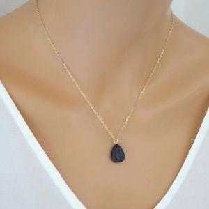 Jewelry - Lava Rock Stone Diffuser Teardrop Necklace